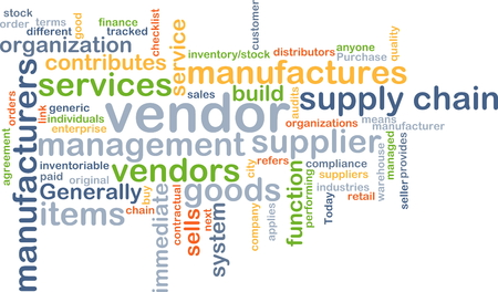contributes: Background concept wordcloud illustration of vendor Stock Photo