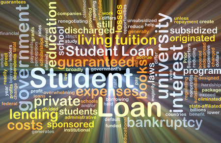 student loan: Background concept wordcloud illustration of student loan glowing light