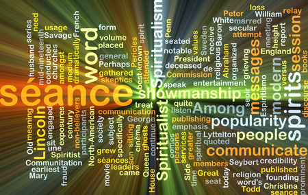 showmanship: Background concept wordcloud illustration of séance glowing light