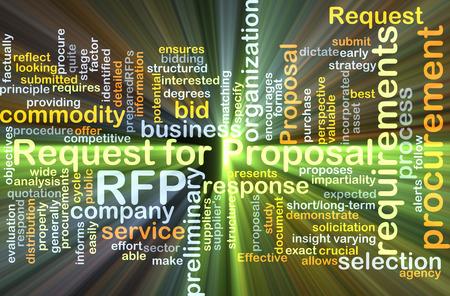 Achtergrond concept wordcloud illustratie van het verzoek om het voorstel RFP gloeiende licht