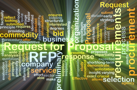 Background concept wordcloud illustration of request for proposal RFP glowing light