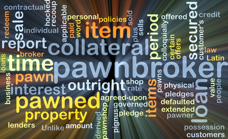 lenders: Background concept wordcloud illustration of pawnbroker glowing light Stock Photo