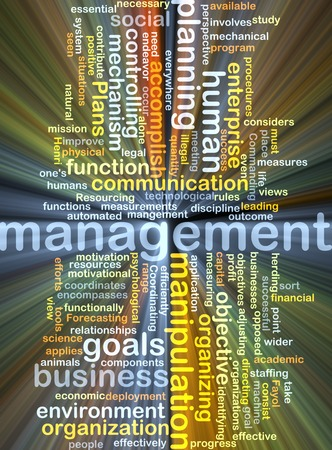 Background text pattern concept wordcloud illustration of management glowing light illustration
