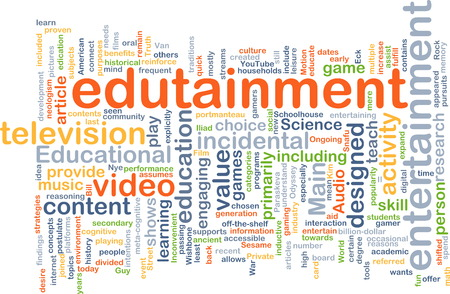 edutainment: Background text pattern concept wordcloud illustration of edutainment Stock Photo