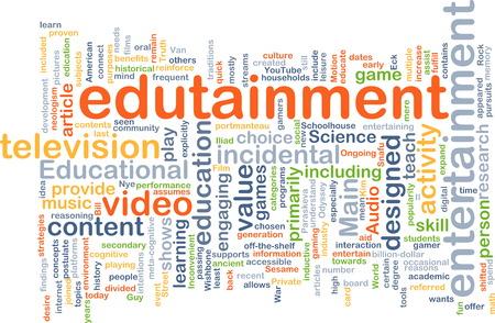 edutainment: Background text pattern concept wordcloud illustration of edutainment Stock Photo