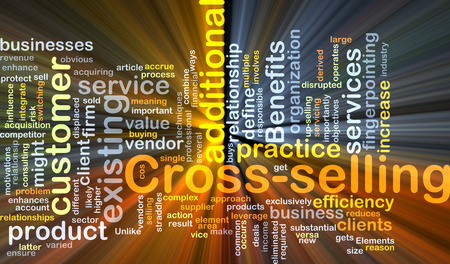 Background concept wordcloud illustration of cross-selling glowing light Stock Photo