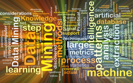 considerations: Background concept wordcloud illustration of data mining glowing light Stock Photo