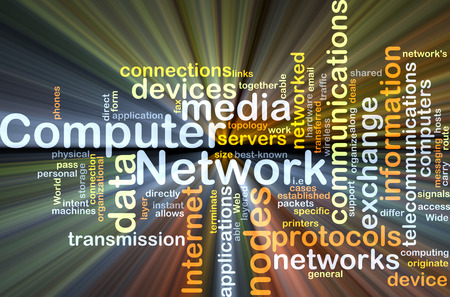 protocols: Background concept wordcloud illustration of computer network glowing light Stock Photo