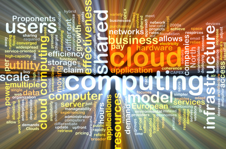 scalability: Background text pattern concept wordcloud illustration of cloud computing glowing light Stock Photo