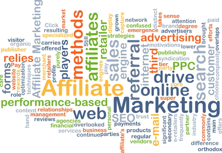 affiliate: Background concept wordcloud illustration of affiliate marketing Stock Photo