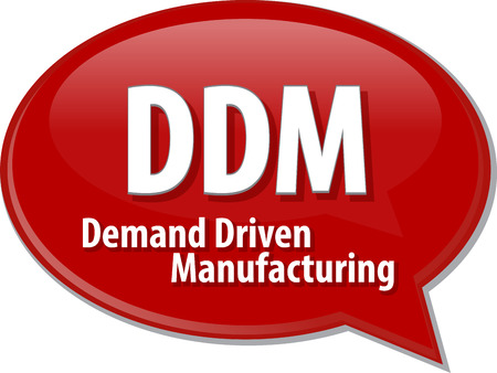 driven: word speech bubble illustration of business acronym term DDM Demand Driven Manufacturing Stock Photo