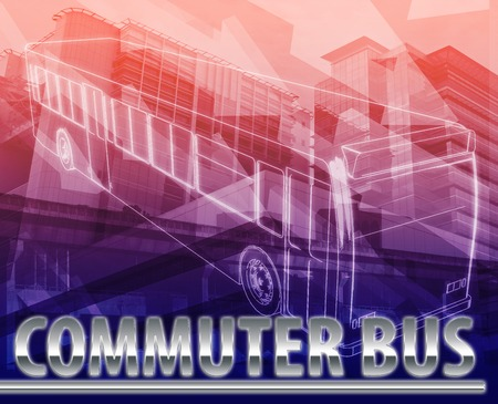 Abstract background digital collage concept illustration commuter bus public transport