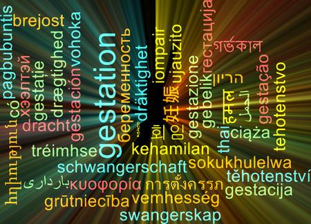 incubation: Background concept wordcloud multilanguage international many language illustration of gestation glowing light Stock Photo