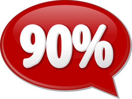 ninety: Word speech bubble illustration of discussion forum blog percent discount ninety 90 Stock Photo