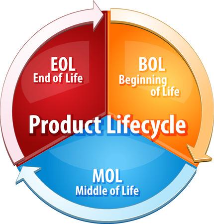 ciclo de vida: concepto de estrategia de negocio ilustración diagrama de infografía de etapas del ciclo de vida del producto