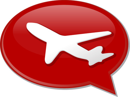 discussion: Word speech bubble illustration of discussion forum blog airplane air travel Stock Photo