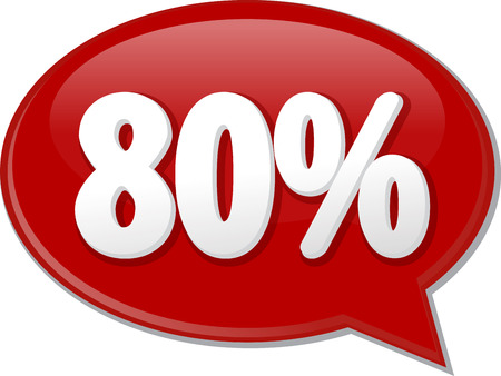 discussion forum: Word speech bubble illustration of discussion forum blog percent discount eighty 80 Stock Photo