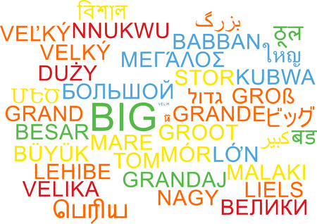 big size: Background concept wordcloud multilanguage international many language illustration of big