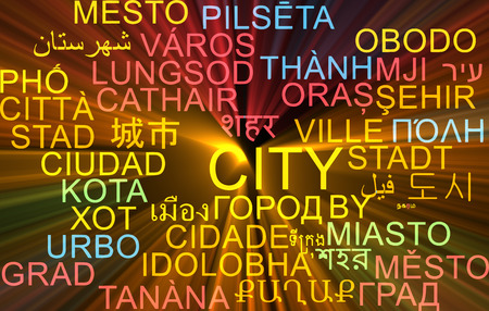 the settlement: Background concept wordcloud multilanguage international many language illustration of city glowing light