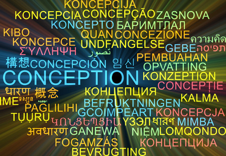conception: Background concept wordcloud multilanguage international many language illustration of conception glowing light
