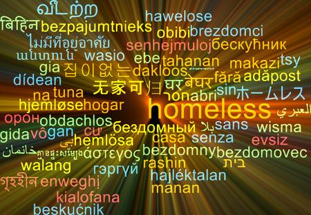 homeless: Background concept wordcloud multilanguage international many language illustration of homeless glowing light Stock Photo
