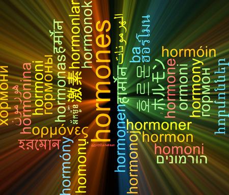 hormonen: Achtergrond concept wordcloud meertalige internationale vele talen illustratie van hormonen gloeiende licht