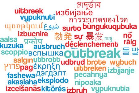 outbreak: Background concept wordcloud multilanguage international many language illustration of outbreak