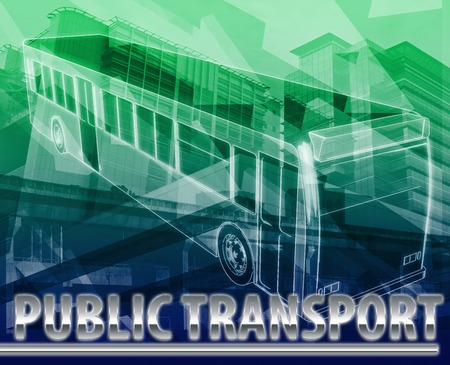 commuter: Abstract background digital collage concept illustration public transport commuter bus