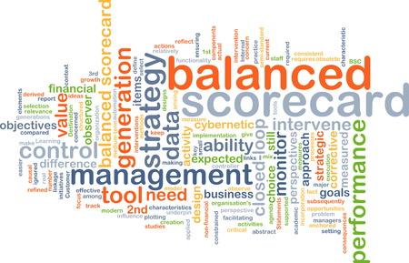 balanced: Background text pattern concept wordcloud illustration of balanced scorecard