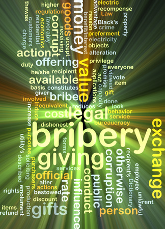 Background concept wordcloud illustration of bribery glowing light