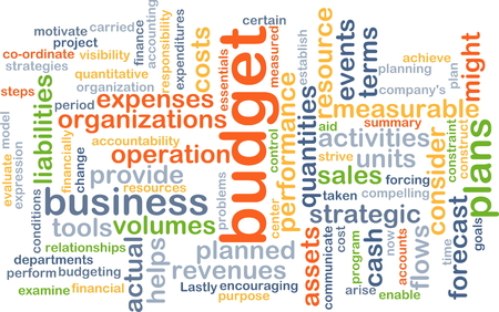 quantities: Background concept wordcloud illustration of budget