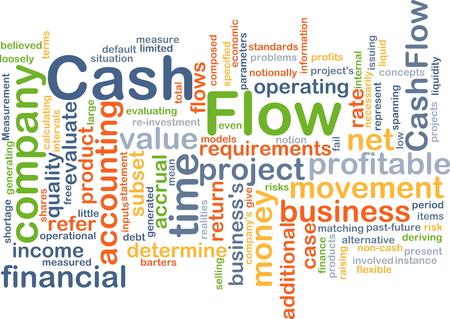 flujo de dinero: Concepto de fondo wordcloud ilustraci�n de flujo de caja