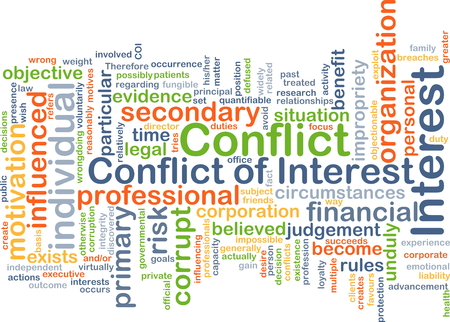 influenced: Background concept wordcloud illustration of conflict of interest Stock Photo