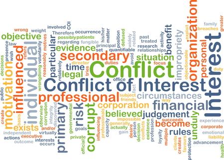 fond, concept, wordcloud, Illustration, de conflit d'intérêts Banque d'images