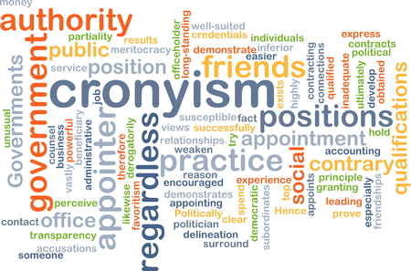 granting: Background concept wordcloud illustration of cronyism Stock Photo