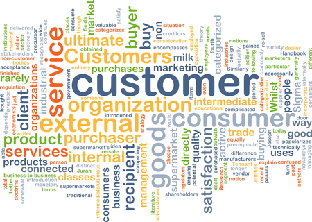 business graphics: Background concept wordcloud illustration of customer Stock Photo