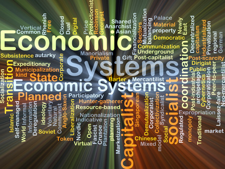 socialist: Background concept wordcloud illustration of economic system glowing light