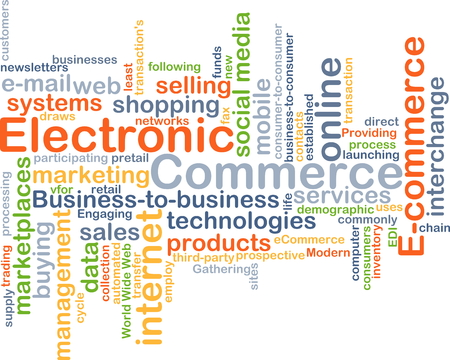 electronic background: Background concept wordcloud illustration of electronic commerce Stock Photo