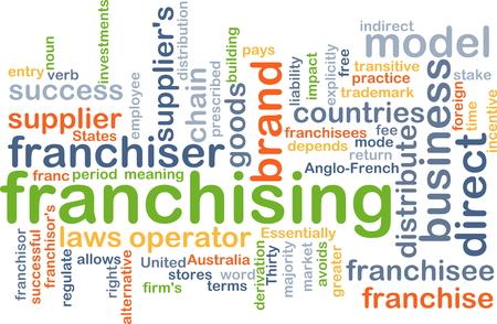 franchising: Background concept wordcloud illustration of franchising