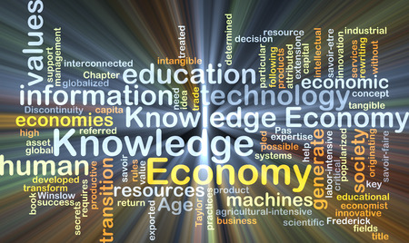 Background concept wordcloud illustration of economy knowledge glowing light Banco de Imagens