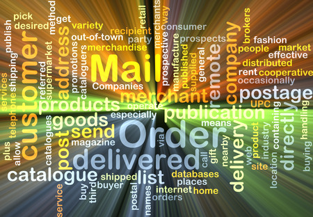 mail order: Background text pattern concept wordcloud illustration of mail order glowing light Stock Photo