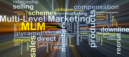 mlm: Background concept wordcloud illustration of multi-level marketing MLM glowing light