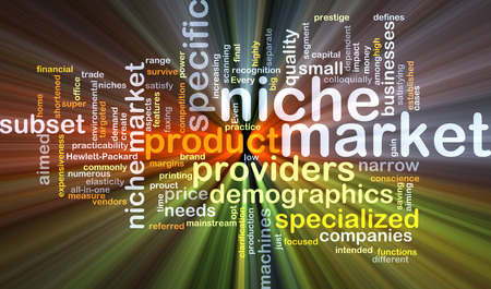 targeted: Background concept wordcloud illustration of niche market glowing light