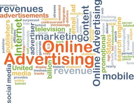 advertiser: Background concept wordcloud illustration of online advertising Stock Photo