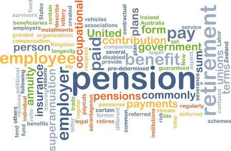 Background concept wordcloud illustration of pension Stock Photo
