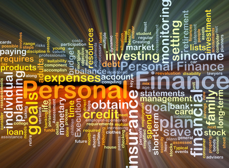 Background concept wordcloud illustration of personal finance glowing light
