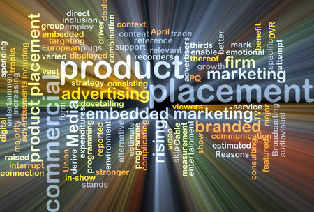 product placement: Background text pattern concept wordcloud illustration of product placement glowing light Stock Photo