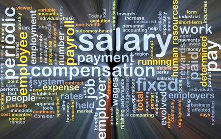 leveling: Background concept wordcloud illustration of salary glowing light