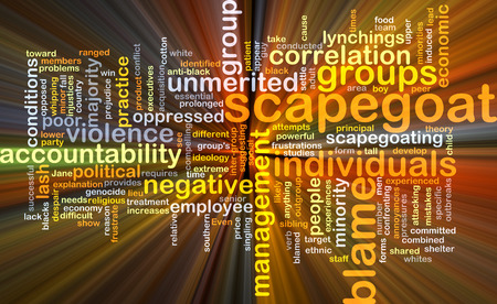 blame: Background concept wordcloud illustration of scapegoat blame glowing light