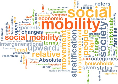 mobility: Background text pattern concept wordcloud illustration of social mobility